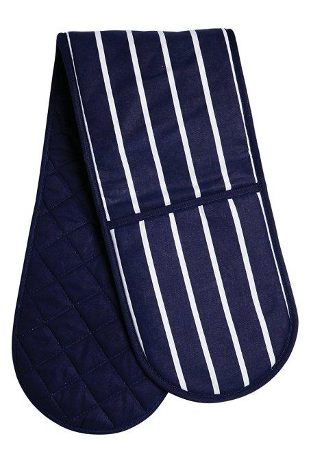 Blue Butcher Stripe Double oven Glove