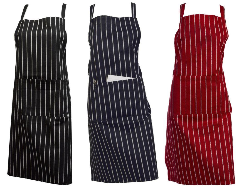 Butcher stripe apron woven Red Blue Black