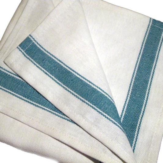 White Green Herringbone Kitchen Cloth 50x76cm 120g